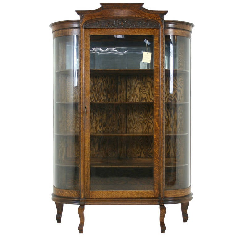 Antique American Tiger Oak Bow Front China Display Curio Cabinet For