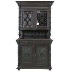 Antique French Heavily Carved Oak Bookcase or Display Cabinet, China