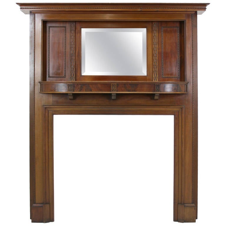 antique solid mahogany fireplace mantel with bevelled