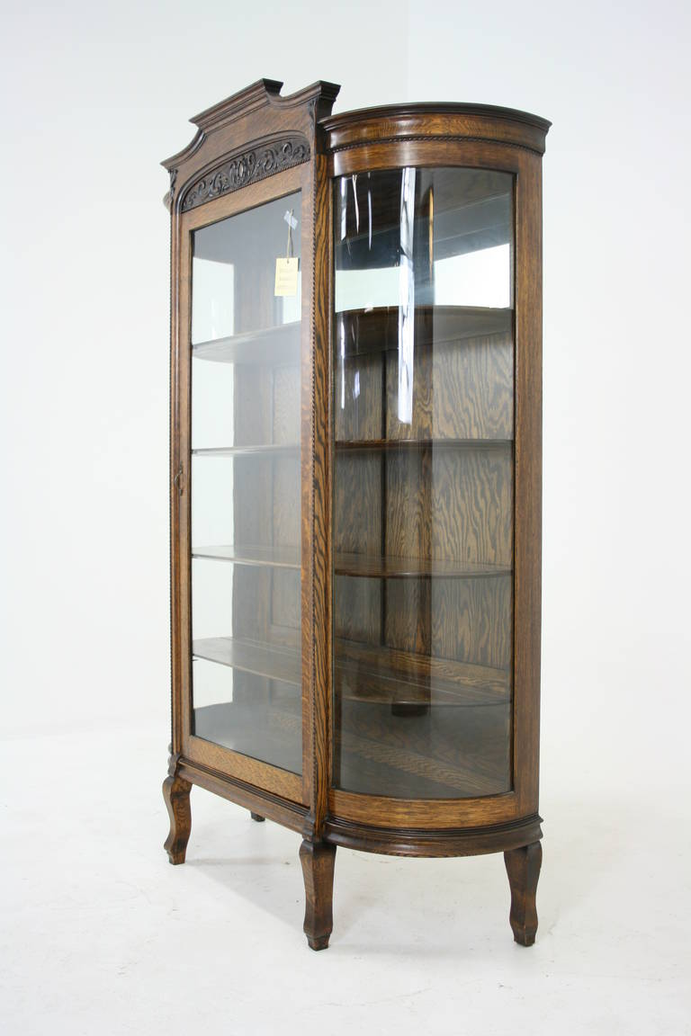 Antique American Tiger Oak Bow Front China, Display, Curio Cabinet ...