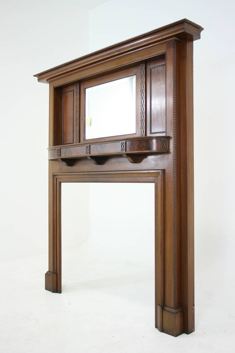 Antique solid mahogany fireplace mantel with bevelled for Fireplace mirrors