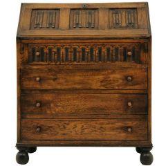 Oak Linen Fold Slant Front Desk