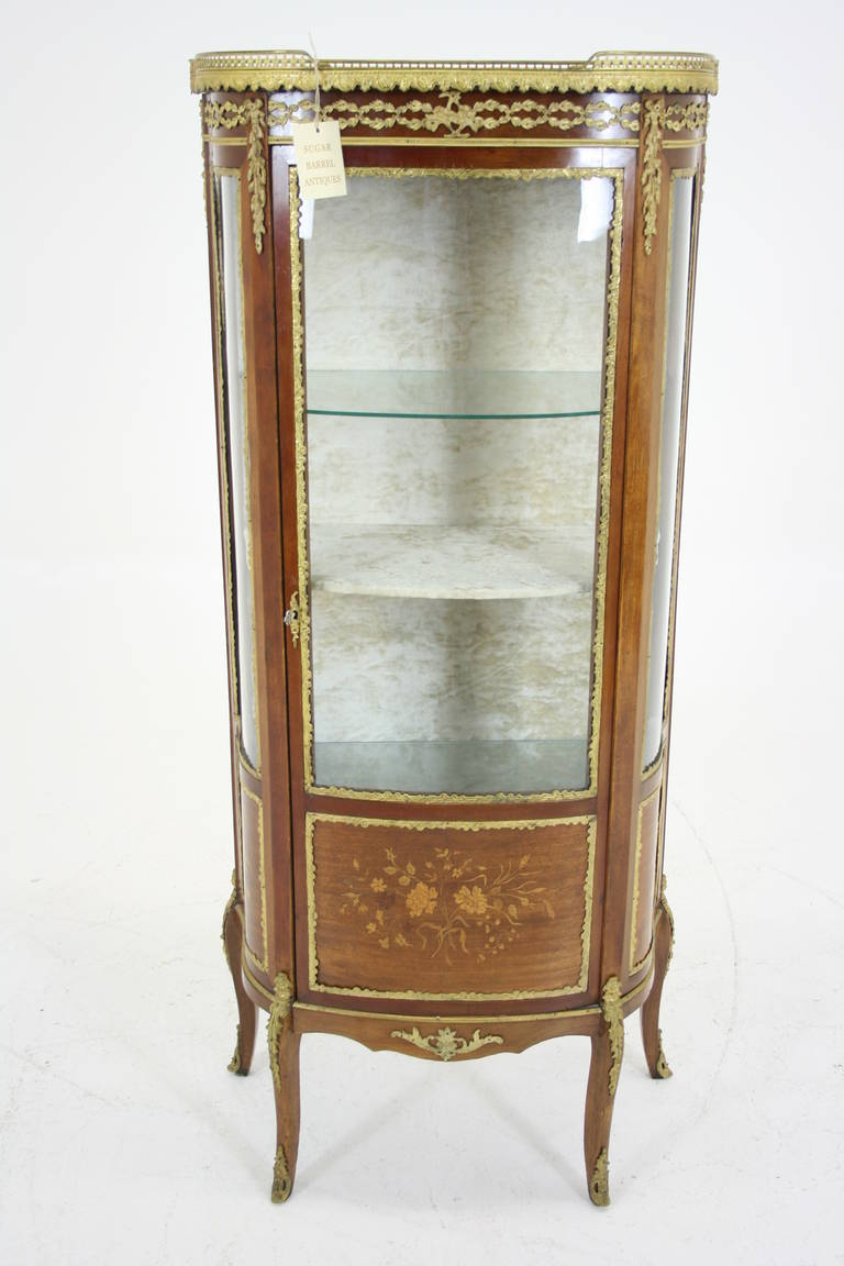 Antique French Ormolu Inlaid Marquetry Vitrine China Curio Cabinet At 1stdibs