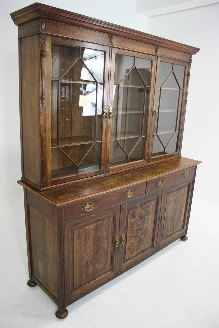 Large Antique Scottish Gl Front Bookcase Display China Cabinet In Excellent Condition For