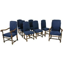 Set of 8 Oak Dining Chairs (6 singles + 2 carvers)
