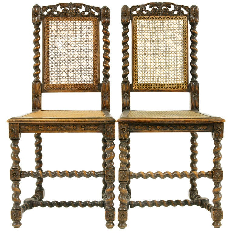 Pair Antique Walnut Barley Twist Hall Chairs At 1stdibs
