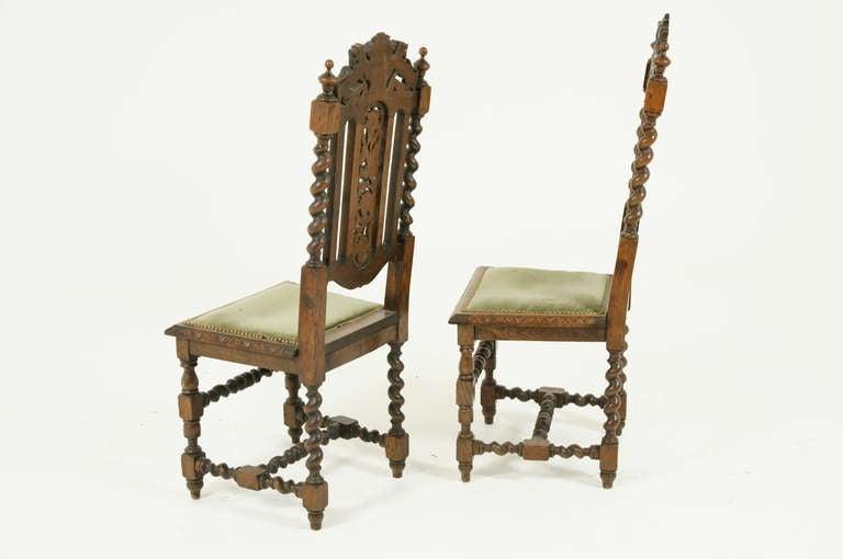 Pair Of Victorian Barley Twist Oak Hall Chairs At 1stdibs