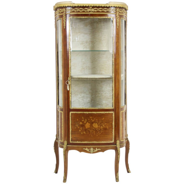 Antique French Ormolu Inlaid Marquetry Vitrine, China, Curio Cabinet For  Sale - Antique French Ormolu Inlaid Marquetry Vitrine, China, Curio Cabinet