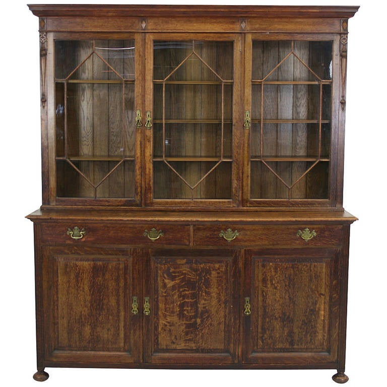 Large Antique Scottish Glass Front Bookcase Display