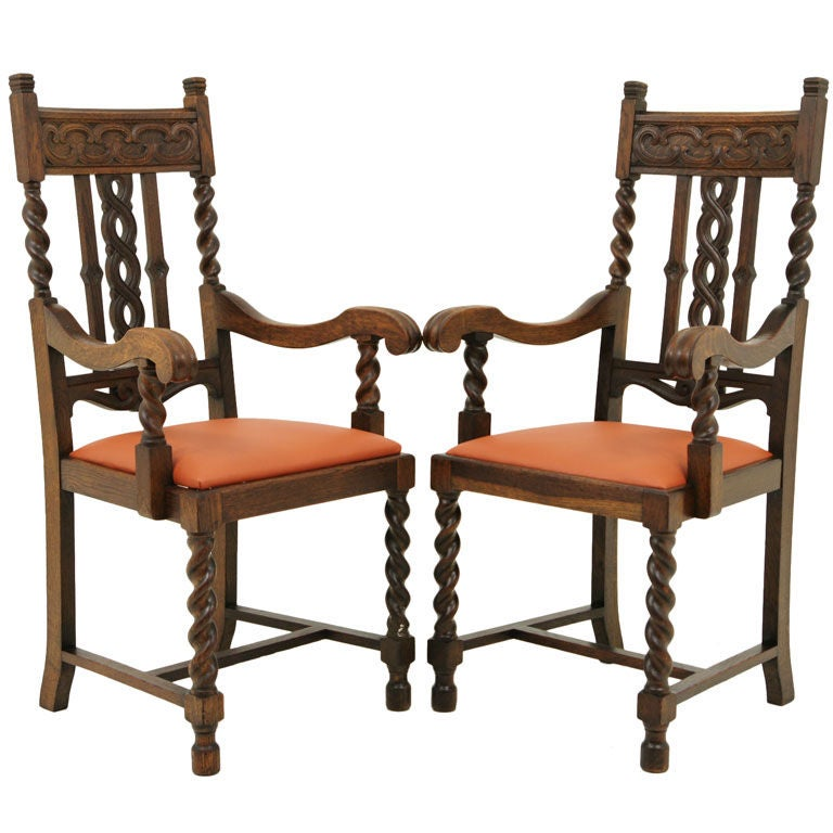 Carved Oak Barley Twist Arm Chairs At 1stdibs