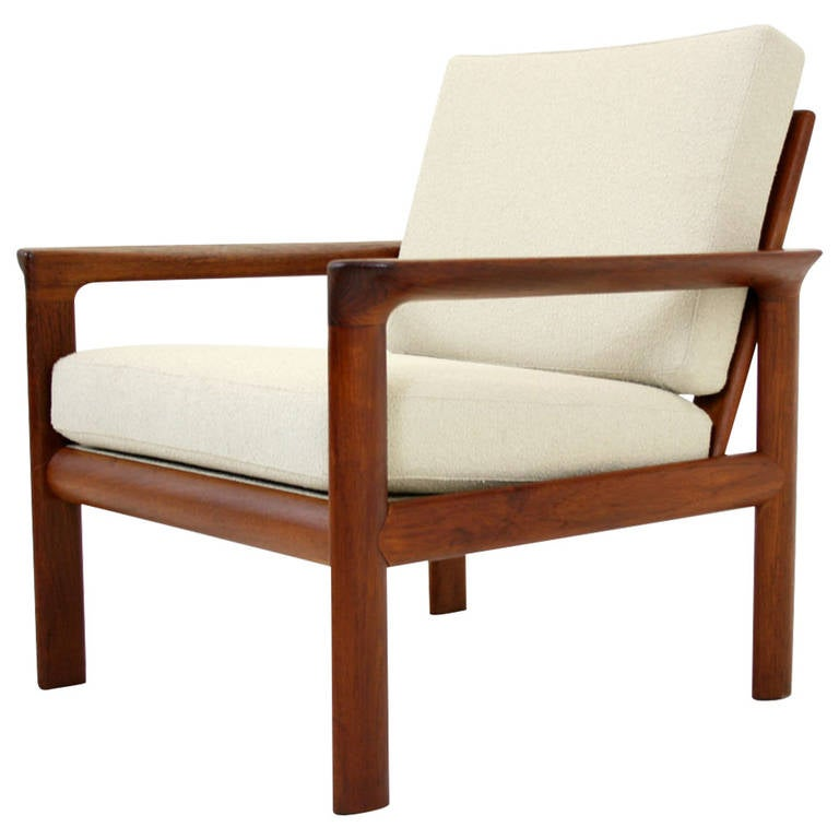 Danish mid century modern teak lounge arm easy living room for Mid century modern living room chairs