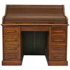"Antique American Mahogany ""S"" Roll Top Desk, Double Pedestal, 1910"