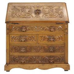 Antique Scottish Victorian Heavily Carved Oak Drop, Slant Front Desk
