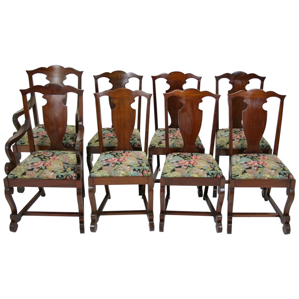 Eight antique american mahogany empire dining chairs six for Mahogany dining room furniture