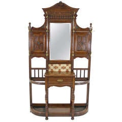 Late Victorian Mirror Back Hall Tree