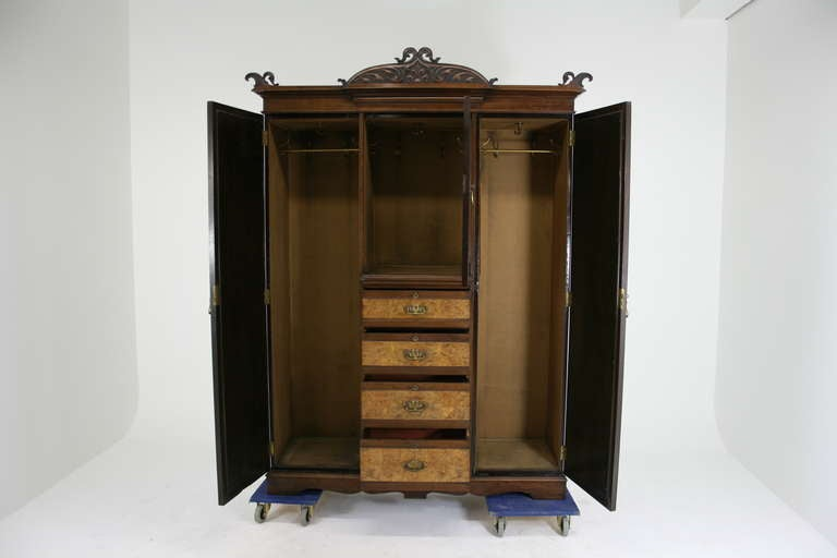 victorian art nouveau walnut triple door armoire wardrobe at 1stdibs. Black Bedroom Furniture Sets. Home Design Ideas