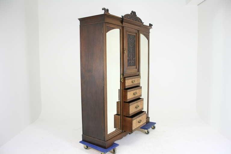 victorian art nouveau walnut triple door armoire wardrobe. Black Bedroom Furniture Sets. Home Design Ideas