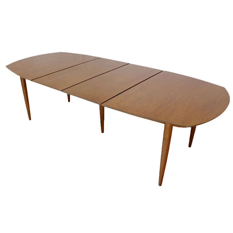 John Stuart Mid Century Modern Walnut Dining Table with Two Leaves