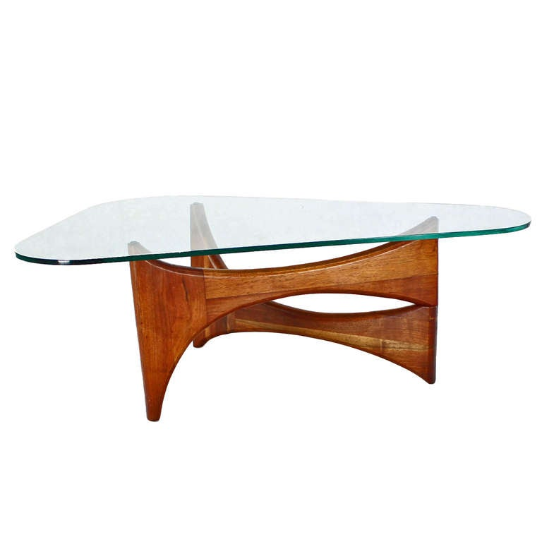 Mid Century Modern Coffee Table With Planter: Adrian Pearsall Mid-Century Modern Walnut Base, Heart