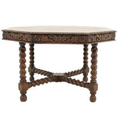 Late Victorian Carved Oak Barley Twist Octagonal Center Table