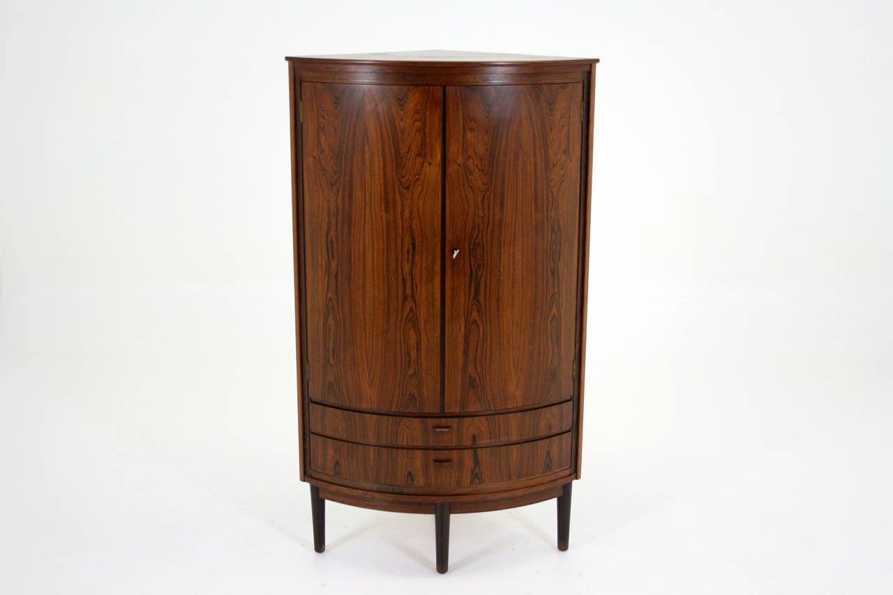 Mid Century Corner Cabinet: Danish Mid Century Modern Rosewood Corner Cabinet Bar