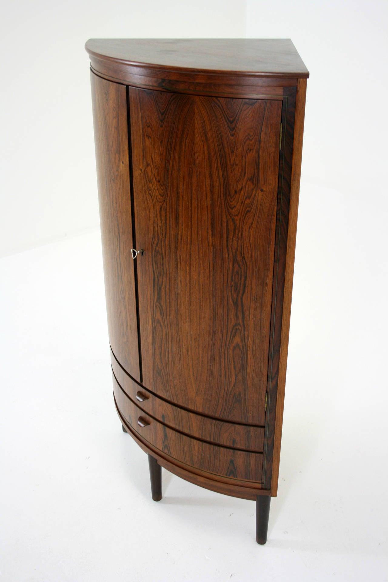 Danish mid century modern rosewood corner cabinet bar for Cupboard or cabinet