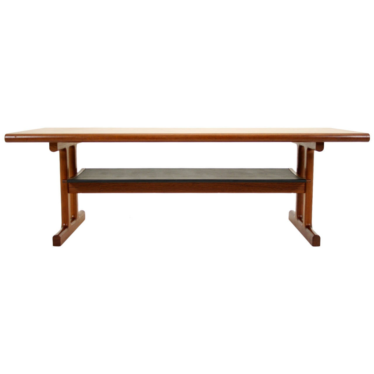 Danish Mid Century Modern Teak Coffee Table With Shelf By C F Christensen At 1stdibs