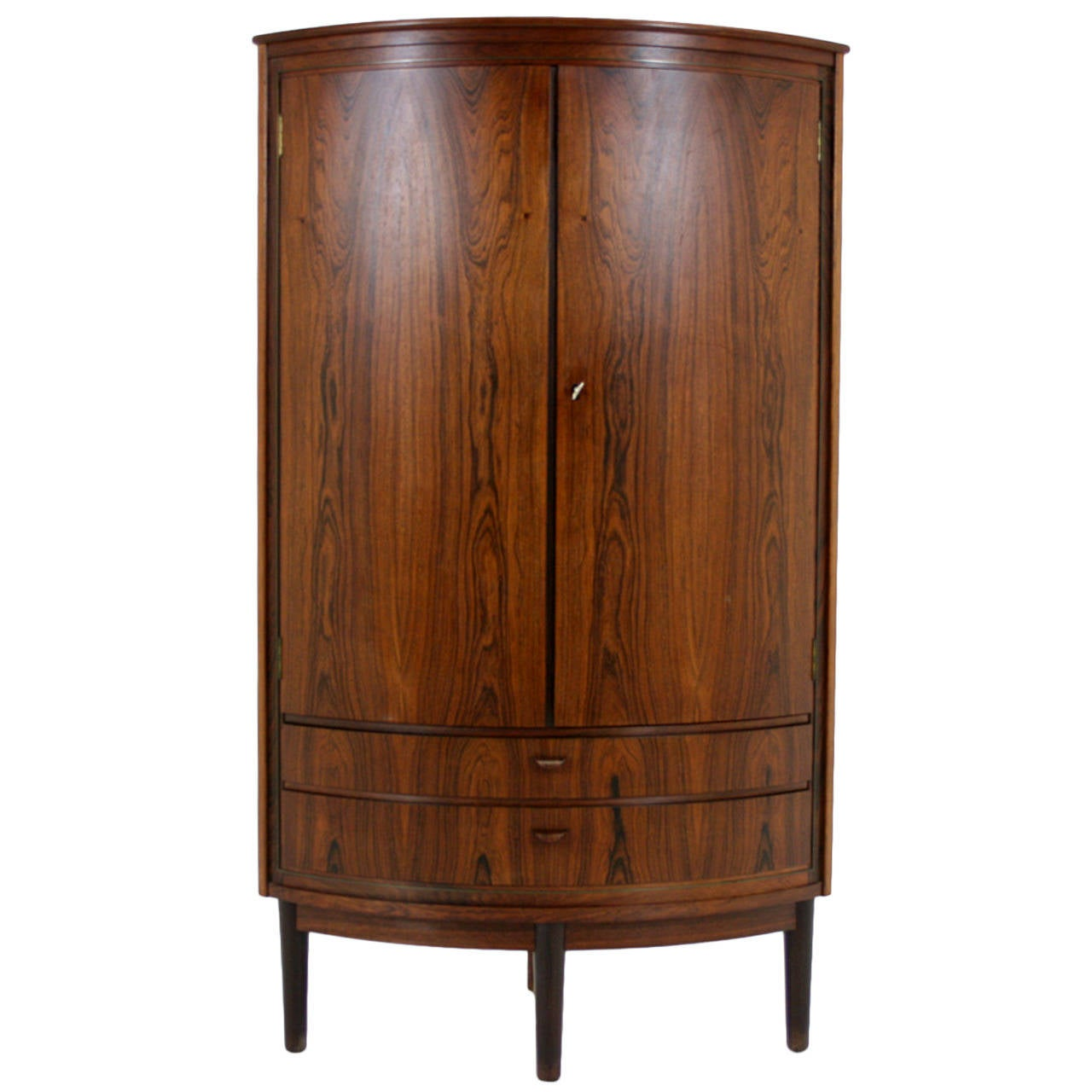 Danish Mid Century Modern Rosewood Corner Cabinet Bar Cupboard For Sale
