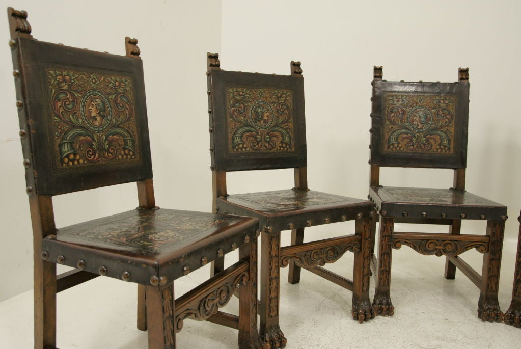 six walnut and leather spanish dining chairs at 1stdibs