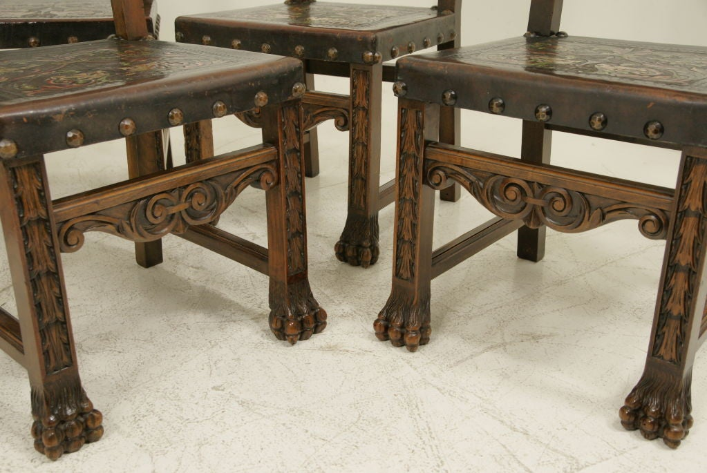 six walnut and leather spanish dining chairs is no longer available