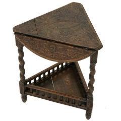 Victorian Carved Oak Corner Envelope Table
