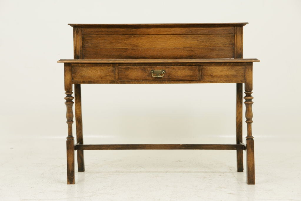 Solid oak hall sofa table with drawer at stdibs