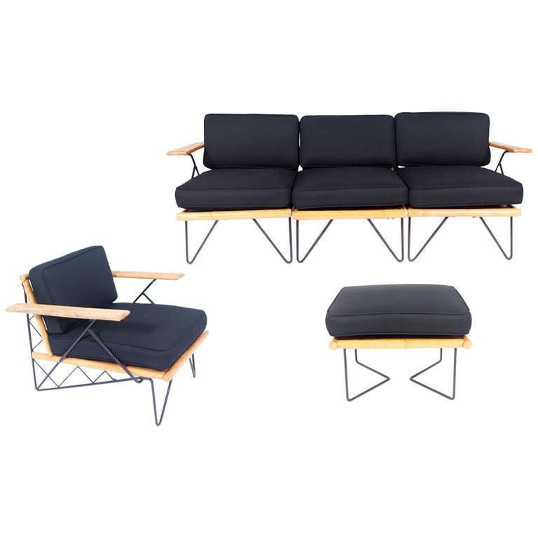 Modular bamboo and metal wroughtan seating shirley ritts 1950 39 s at 1stdibs - Sofa herbergt s werelds ...