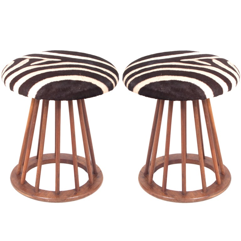 Pair Of Mid Century Stools With Upholstered With Zebra At