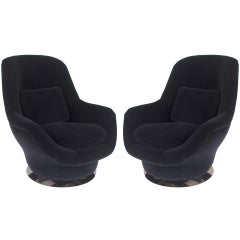Pair of Black Velvet/Chrome Swivel Tilt Milo Baughman Lounge Chairs