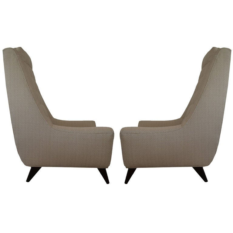 Of mid century modern large scale high back lounge chairs at 1stdibs