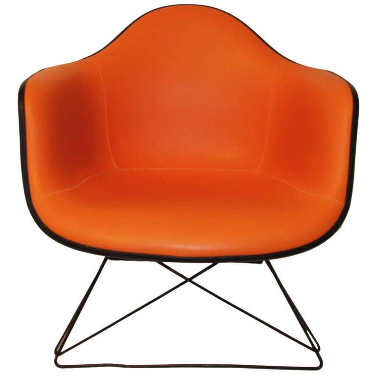 Orange Mid Century Modern Eames Lounge Chair By Herman