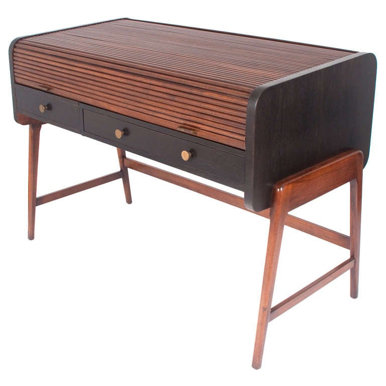 Mid Century Modern Tambour Roll Top Desk by Sligh Lowry at