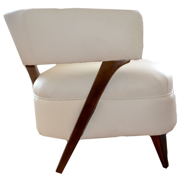 mid century off white leather arm chair at 1stdibs