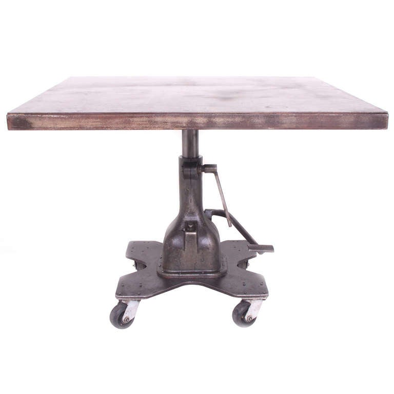 Industrial adjustable swivel lift dining or work table at for Furniture work table