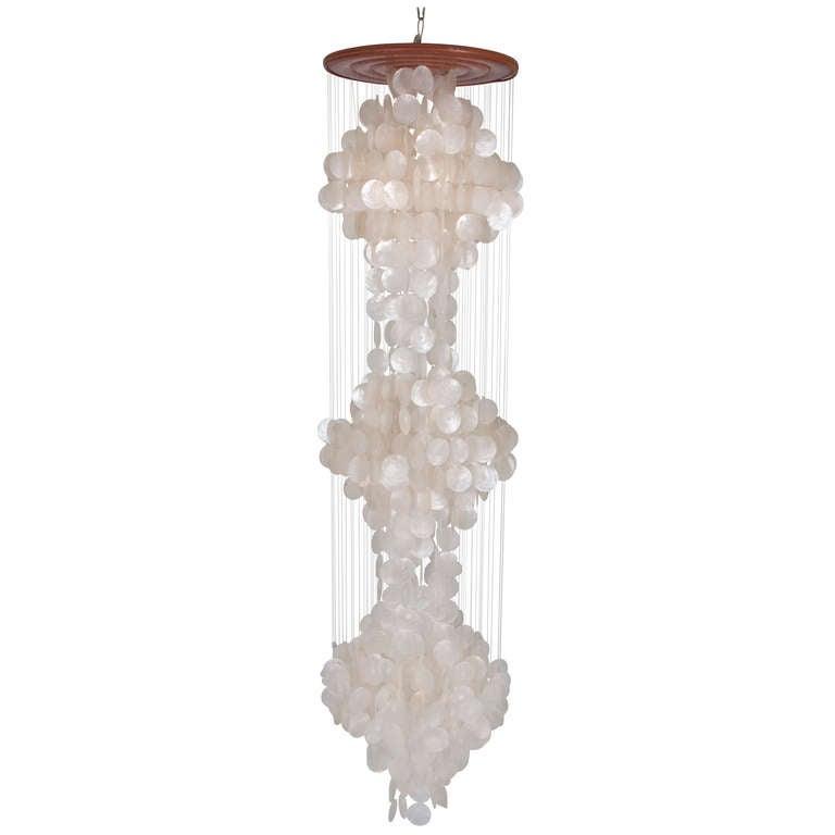 verner panton capiz shell chandelier at 1stdibs. Black Bedroom Furniture Sets. Home Design Ideas