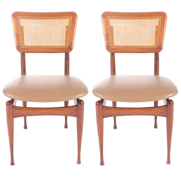 Pair Mid Century Modern Thonet Dining Charms With Cane