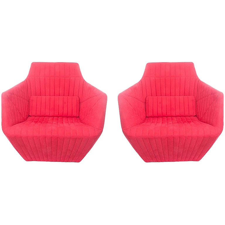 Pair of Red Facett Chairs by Ligne Roset at 1stdibs