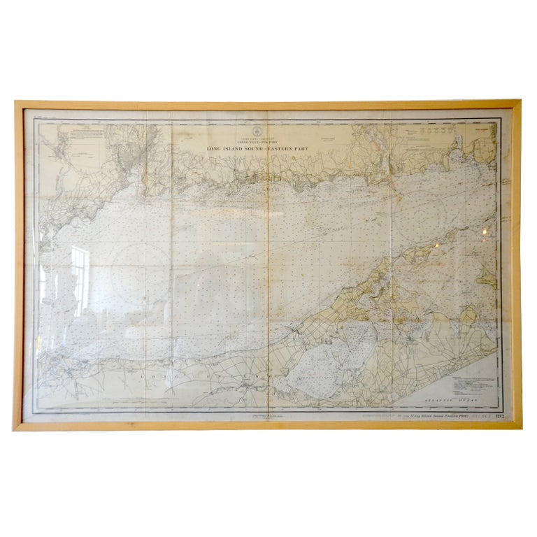 Framed Nautical Map Long Island Sound