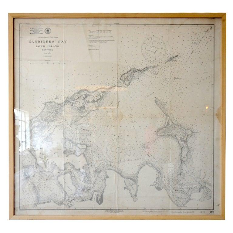 Framed Vintage Long Island Map