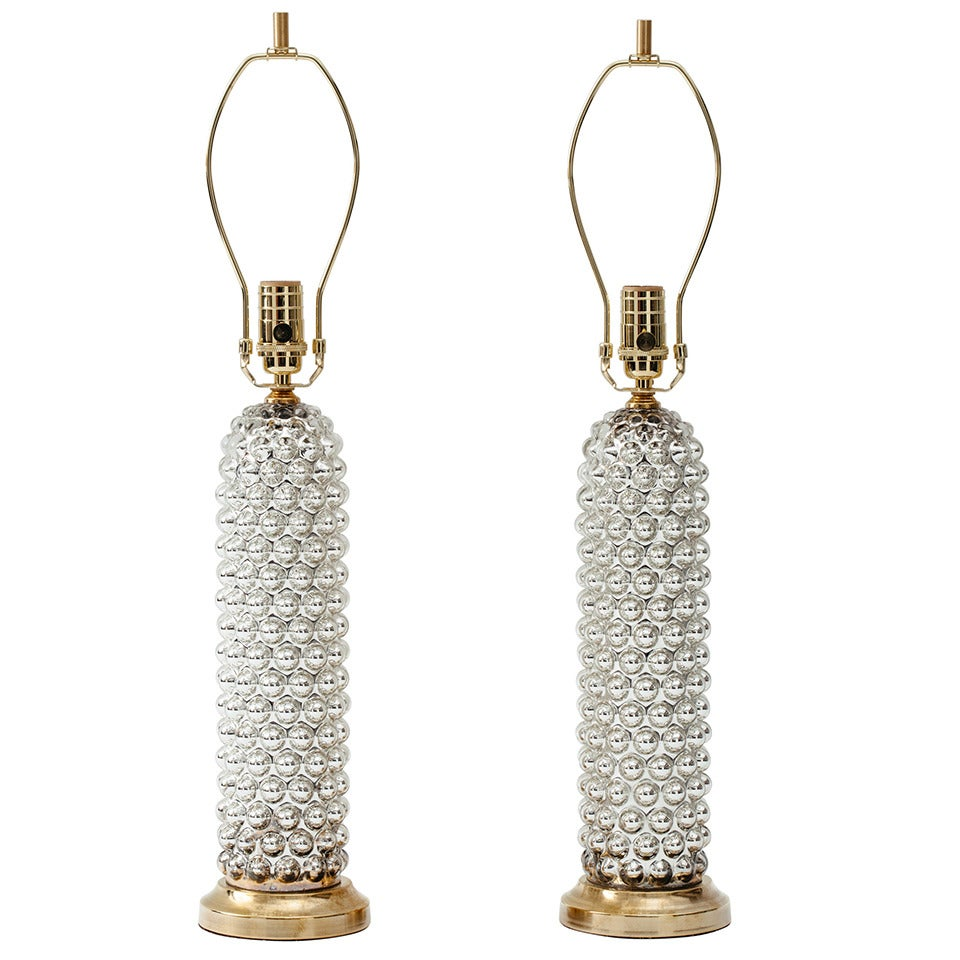 Pair Of Mercury Glass Bubble Cylinder Lamps For Sale At
