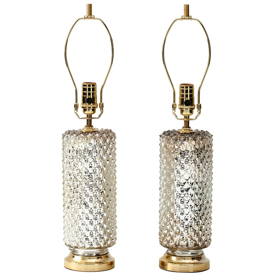 1970s Mercury Glass Honeycomb Cylinder Lamps For Sale At
