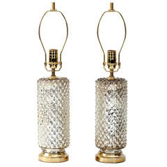 1960s Mercury Glass Honeycomb Cylinder Lamps
