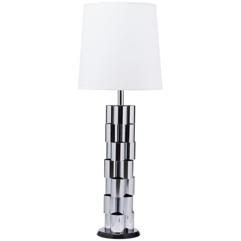Curtis Jere Chrome Sculpture Lamp
