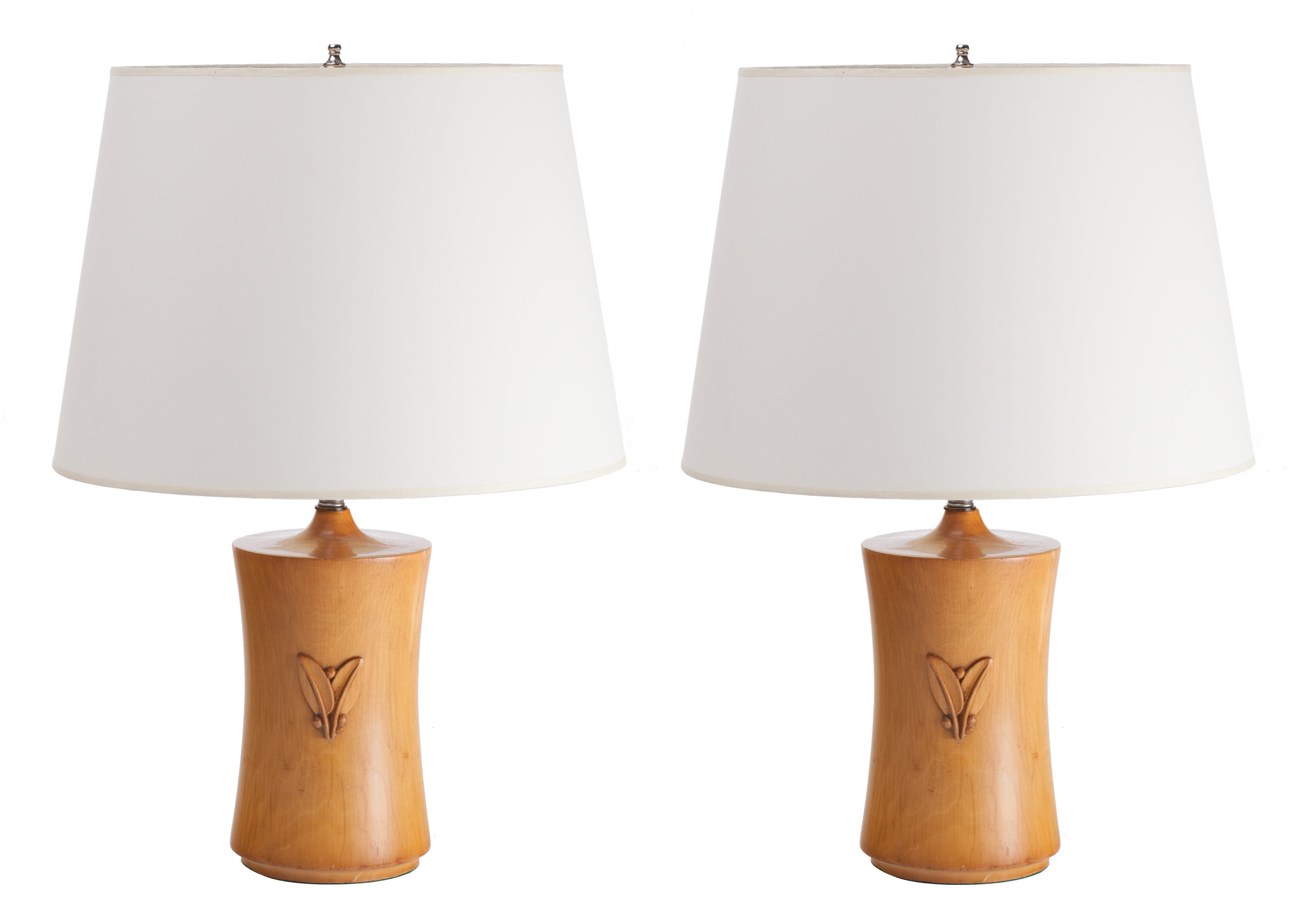 French Art Deco Pear Wood Lamps